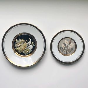 Two The Art of Chokin Gold Trim Japan China Plates